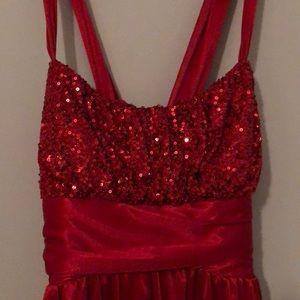 Beautiful red sequin flowy dress